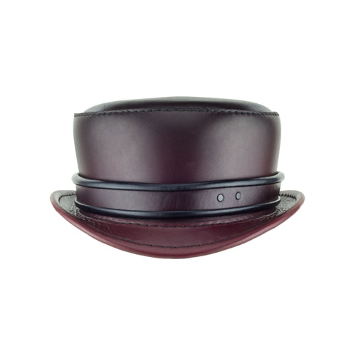 Pinkerton Oxblood Leather Top Hat with Classic Rolled Black/red rolled edge band front Subverse