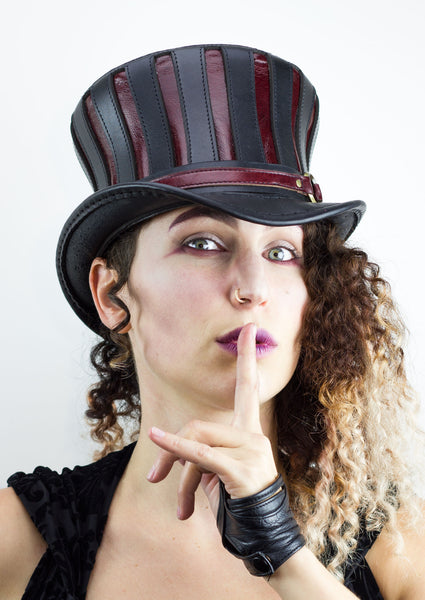 Mad Hatter Leather Top Hat in Black and Red Steampunk Coachman Subverse Arianna