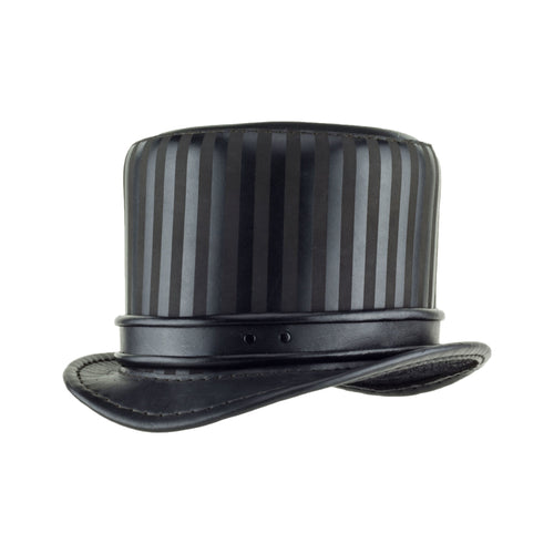 Baron Black Leather Top Hat Rolled Edge Band Angle Subverse