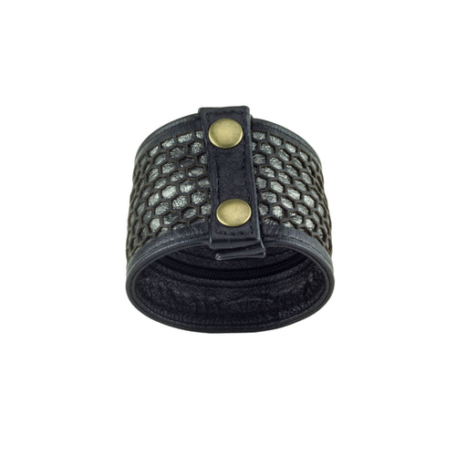Honeycomb Black Pewter Leather Pocket Cuff Bracelet Back Subverse
