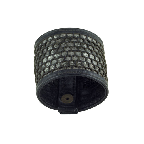 Honeycomb Black Pewter Leather Pocket Cuff Bracelet Front Subverse