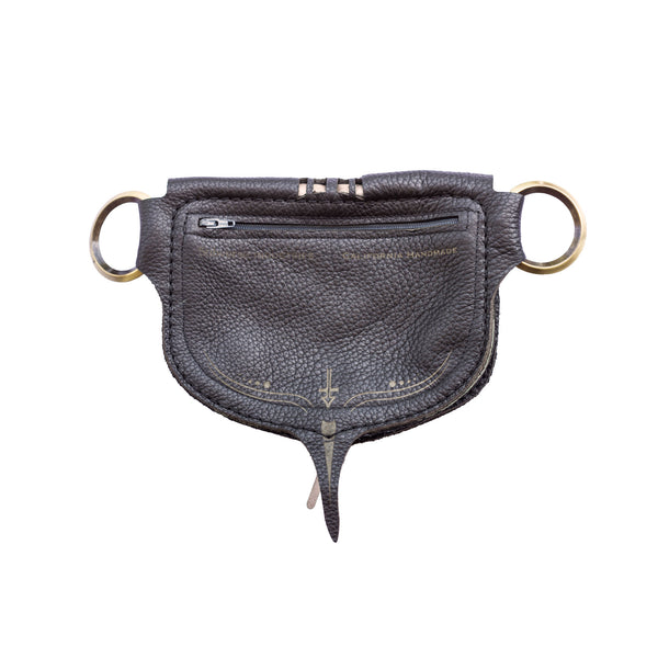 Phoenix Stash Sash Black/Pewter Leather Pocket Utility Festival Belt Lundberg Glass BackSubverse