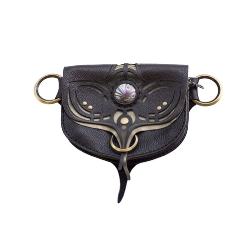 Phoenix Stash Sash Black/Pewter Leather Pocket Utility Festival Belt Lundberg Glass Front Subverse