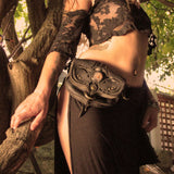 Phoenix Stash Sash Black/Pewter Leather Pocket Utility Festival Belt Lundberg Glass Model Subverse