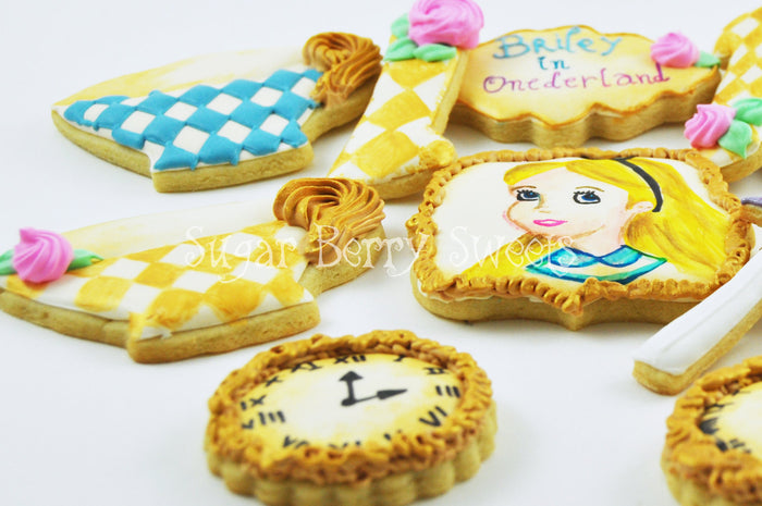 Alice In ONEderland (Wonderland) Birthday Party Sugar Cookies TheIcedSugarCookie.com Sugar Berry Sweets