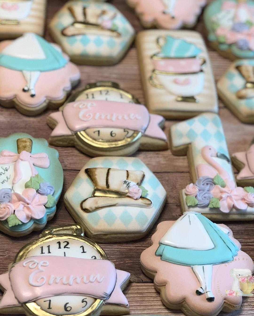 Emma's Alice In ONEderland First Birthday Party Iced Sugar Cookies