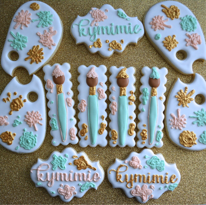 Artist Painter Birthday Party Sugar Cookies TheIcedSugarCookie.com Aujanes Sweets Cake Supplies LLC