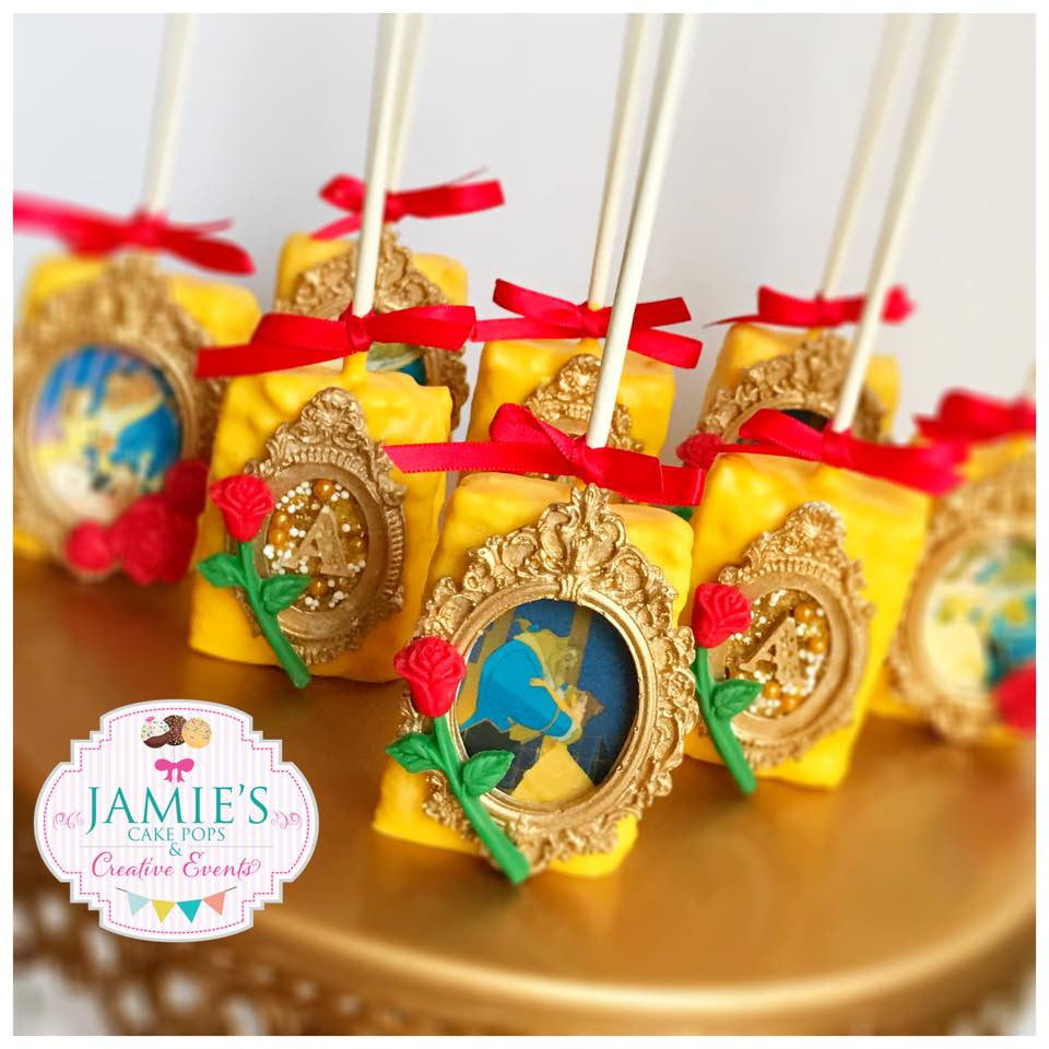 Beauty And The Beast Birthday Party Cake Pops, Rice Krispy Treats, Chocolate Covered Oreos. TheIcedSugarCookie.com Jamie's Cake Pops & Creative Events