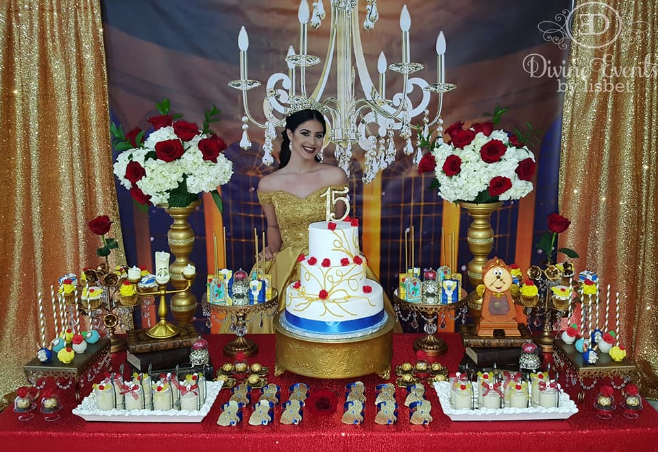 Beauty And The Beast Quinceanera created by Divine Events By Lisbet featured on TheIcedSugarCookie.com #cookies #sugarcookies #decoratedcookies #theicedsugarcookie #quinceanera #beautyandthebeast #beautyandthebeastparty #beautyandthebeastbirthdayparty #th