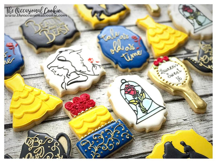 Beauty And The Beast Sweet 16 Birthday Party Sugar Cookies The Occasional Cookie TheIcedSugarCookie.com