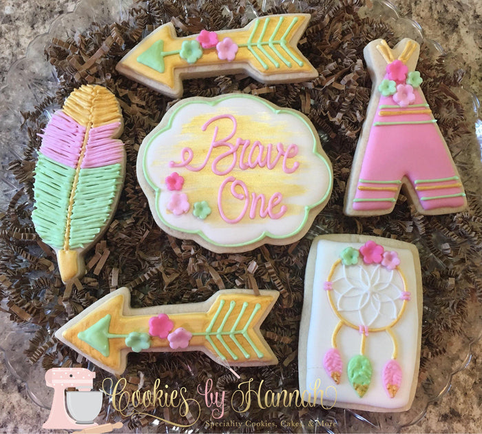 "Boho ""Brave One"" Birthday Party Sugar Cookies TheIcedSugarCookie.com Cookies By Hannah"