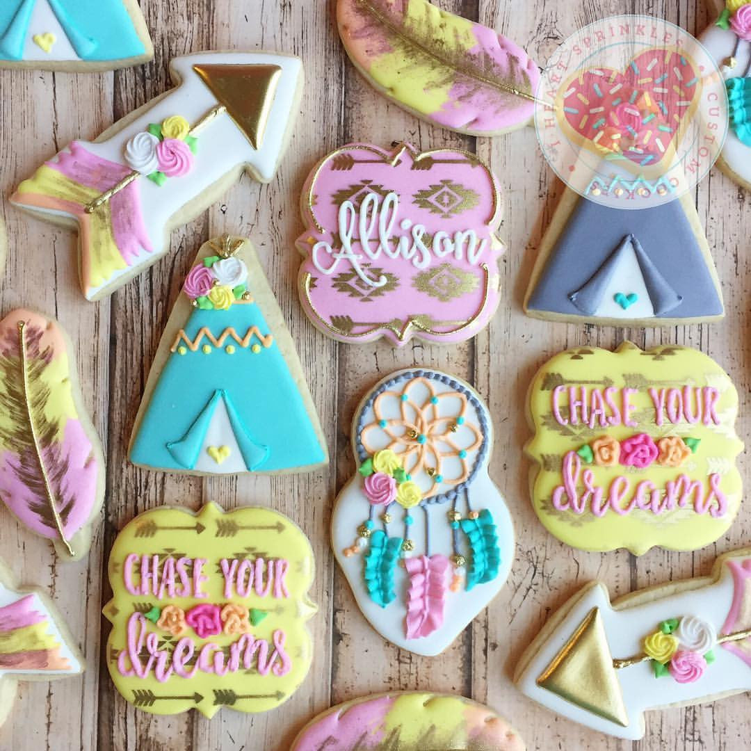 "Boho ""Chase Your Dreams"" Birthday Party Sugar Cookies TheIcedSugarCookie.com I Heart Sprinkles Cookies"