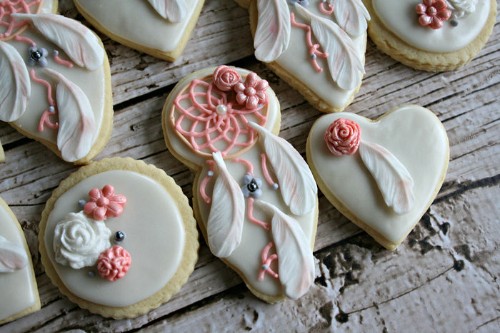 Elegant Boho Chic Birthday Party Sugar Cookies TheIcedSugarCookie.com MaMiMor Cookies