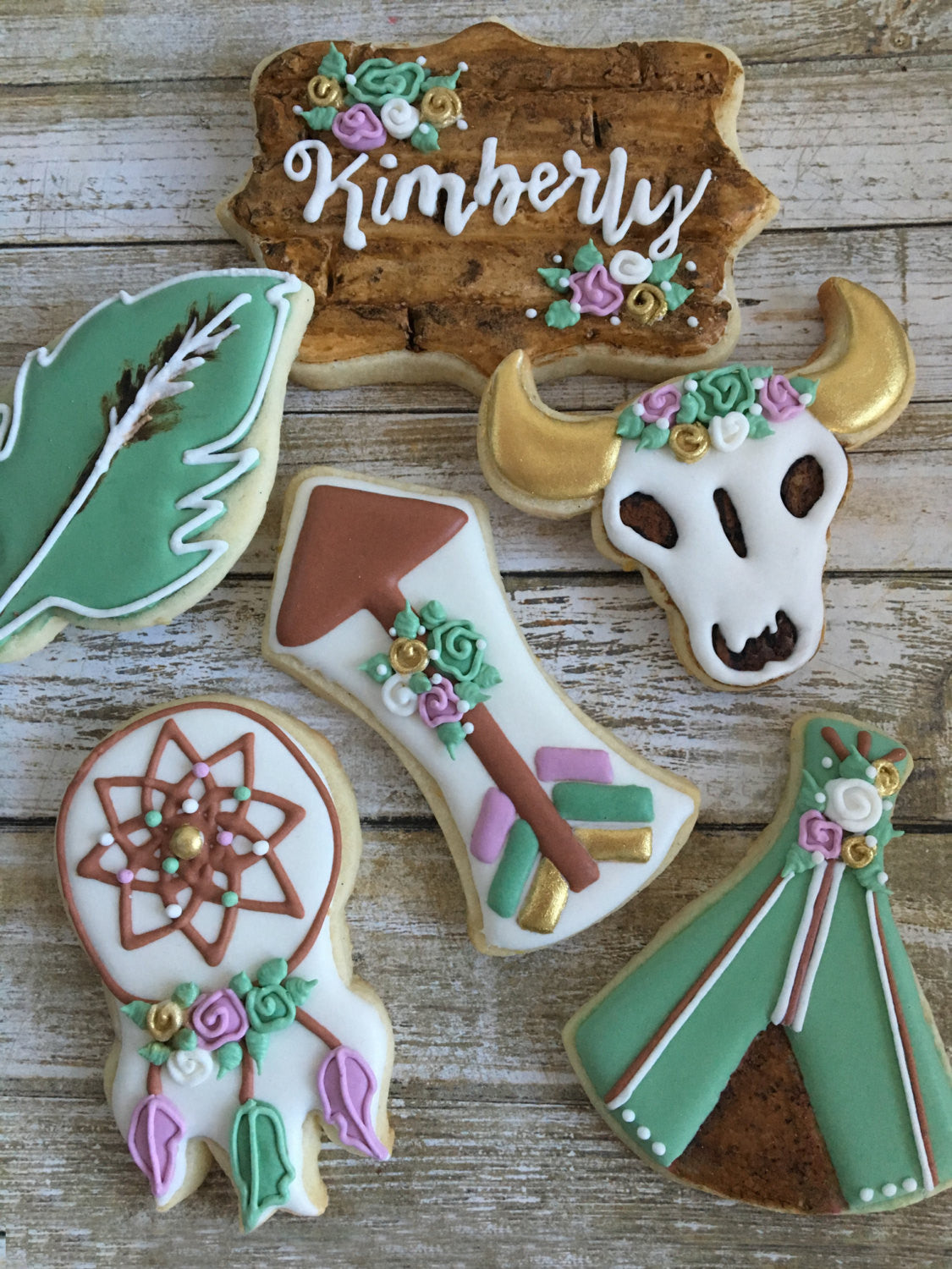 Boho Tribal Birthday Party Sugar Cookies TheIcedSugarCookie.com Cookie Deaux Creations