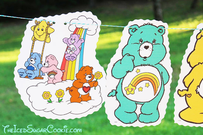Care Bears Birthday Party Banner DIY Idea- Funshine Bear, Grumpy Bear, Bedtime Bear, Friend Bear, Wish Bear, Care A Lot