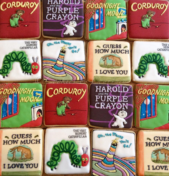 Children's Story Book Sugar Cookies-Harold And The Purple Crayon, The Very Hungry Caterpillar, Goodnight Moon, Corduroy, Oh The Places You'll Go, Guess How Much I Love You