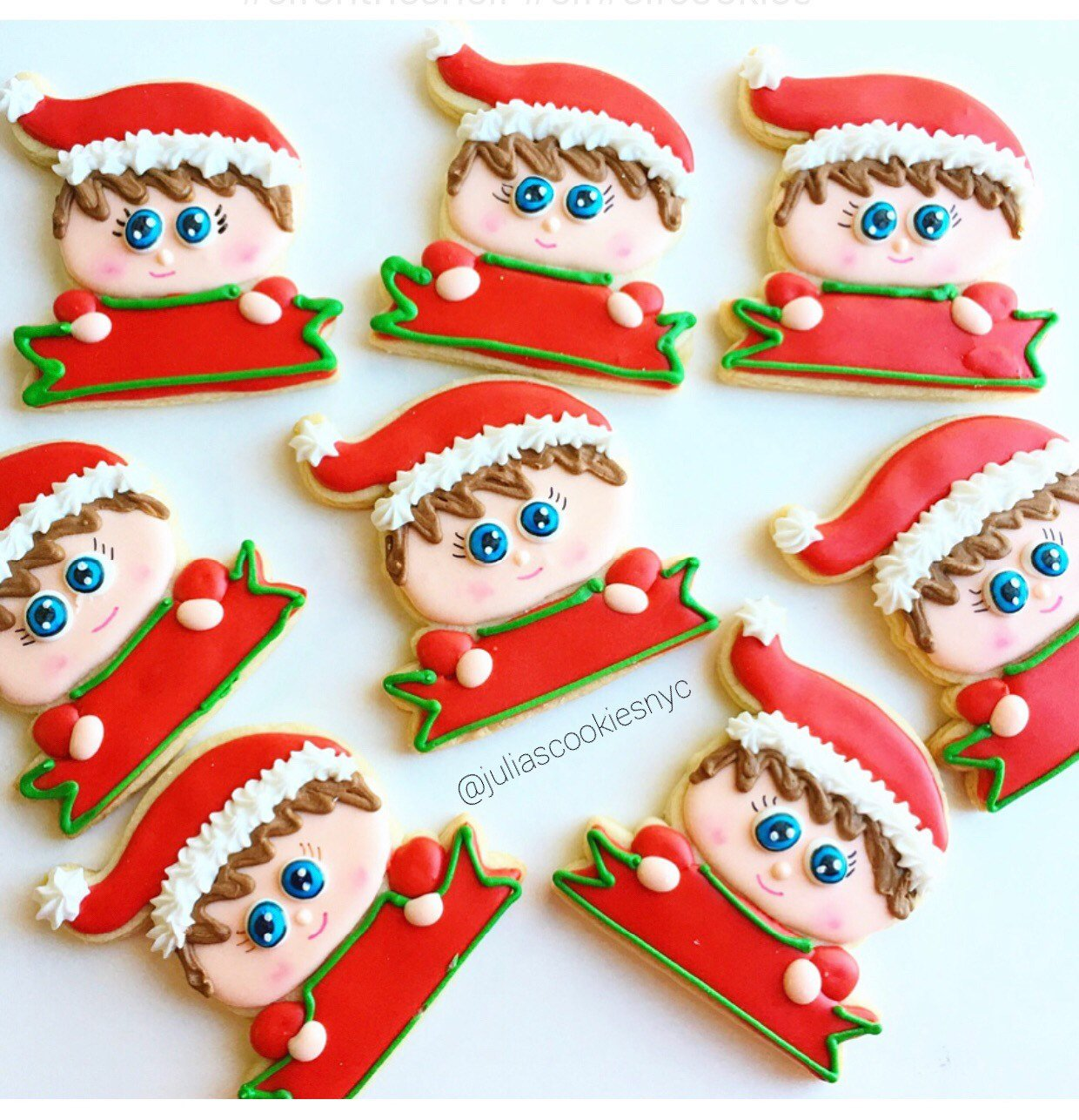 "Christmas Elf Iced Sugar Cookies by Julia Perugini from ""Cookies By Julia"" featured on TheIcedSugarCookie.com #elfcookies #elfsugarcookies #elf #sugarcookies #decoratedsugarcookies #christmascookies #christmas #theicedsugarcookie"