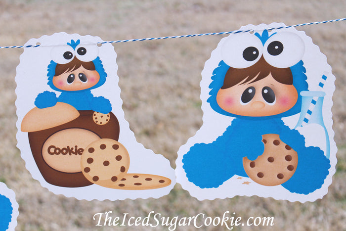 Baby Cookie Monster Sesame Street Birthday Party Banner-Milk and Chocolate Chip Cookie Birthday Party-www.TheIcedSugarCookie.com