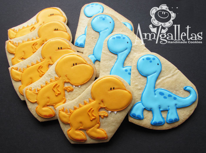Dinosaur Birthday Party Sugar Cookies TheIcedSugarCookie.com Amigalletas