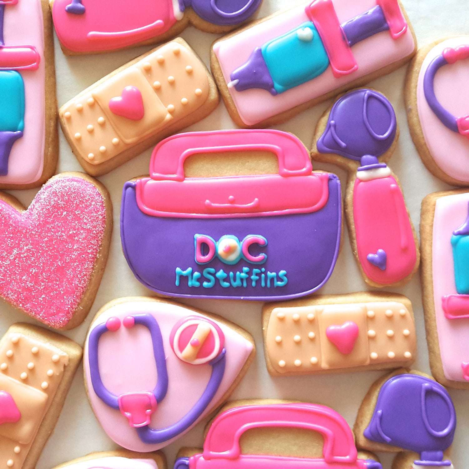 Doc McStuffins Birthday Party Cookies TheIcedSugarCookie.com Merci Bakery