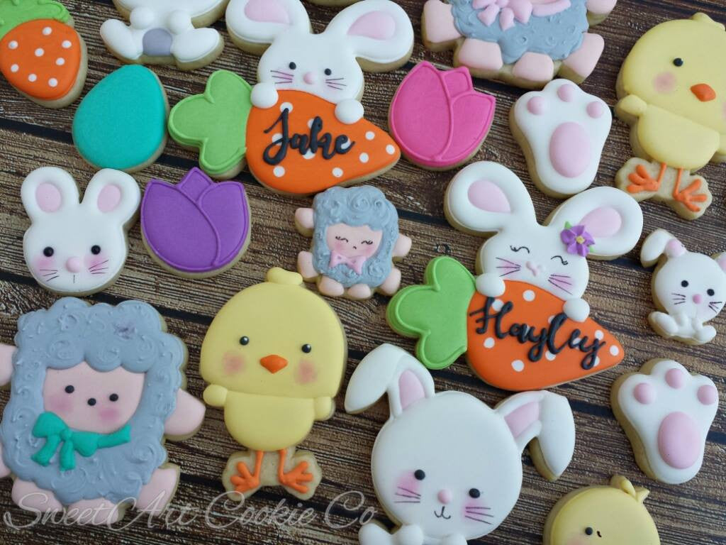Easter Cookies-Baby Sheep, Baby Bunny Rabbit, Baby Chick TheIcedSugarCookie.com Sweet Art Cookie Co