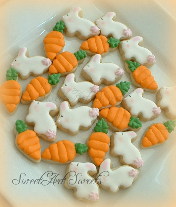 Easter Bunnies And Carrots Mini Sugar Cookies TheIcedSugarCookie.com Sweet Art Sweets