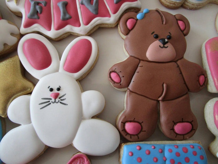Stars, Moons, Teddy Bears and Bunnies Pajama Party Sugar Cookies