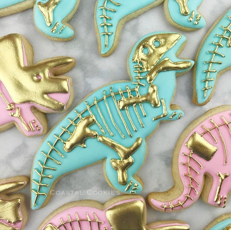 Elegant Dinosaur Birthday Party Iced Sugar Cookies