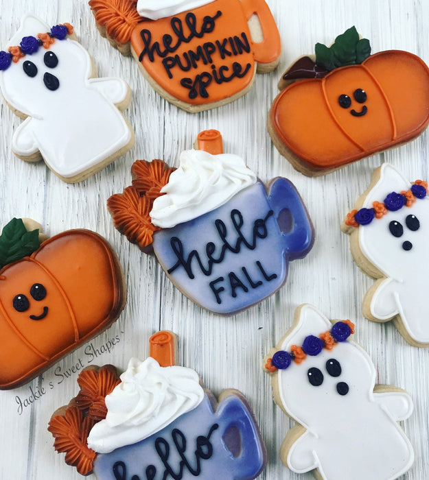 Pumpkin Spice Latte, Ghosts And Pickup Trucks With Pumpkins Iced Sugar Cookies created by @jackiessweetshapes featured on TheIcedSugarCookie.com #sugarcookies #halloweencookies #ghostcookies #pumpkincookies #pumpkinlattecookies #fallcookies