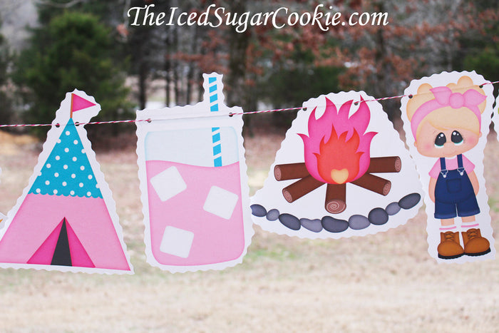 Glamping Glam Camping Birthday Party DIY Idea- Glam Camp Wood Sign, Camper, Smore, Moose Roasting Marshmallows,Pink Sleeping Bag, Tree, Girl With Backpack, Moon and Star, Tent, Lemonade, Campfire, Girl With Overalls, Green Owl