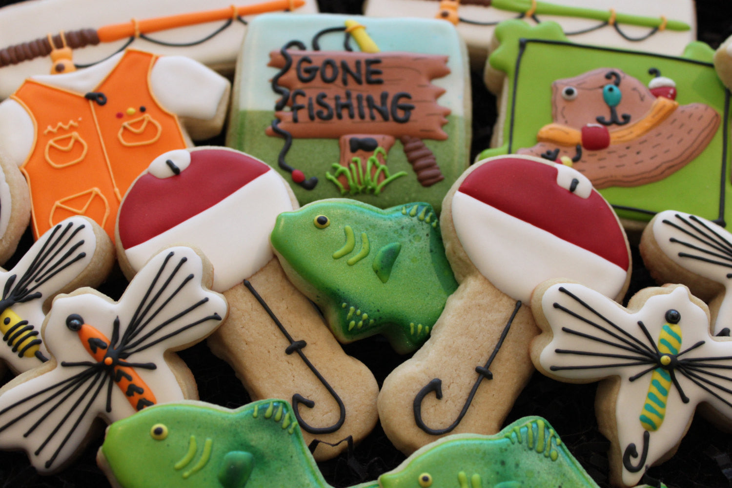 Gone Fishing Birthday Party Sugar Cookies