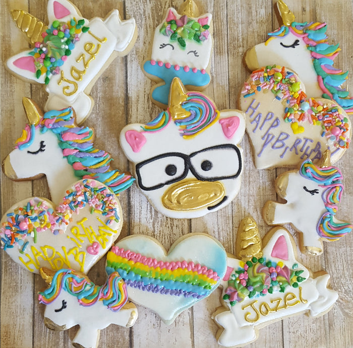 Groovy Unicorn Birthday Party Iced Sugar Cookies by Baking On A Star on TheIcedSugarCookie.com #cookies #sugarcookies #decoratedcookies #unicorncookies