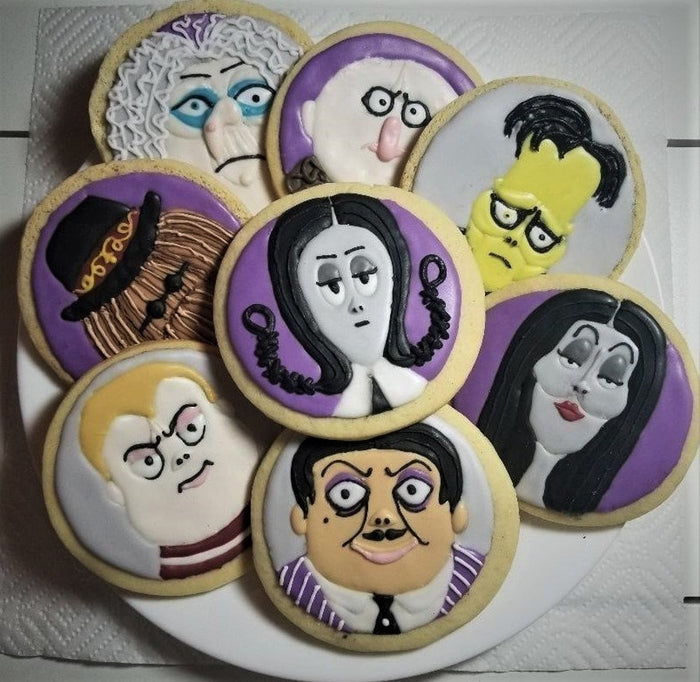 Halloween Addams Family Iced Sugar Cookies created by Nickys Little Cake Shop by TheIcedSugarCookie.com
