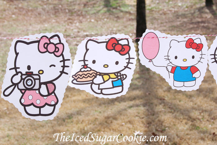 Hello Kitty Birthday Party DIY Idea Flag Bunting Banner Garland The Iced Sugar Cookie