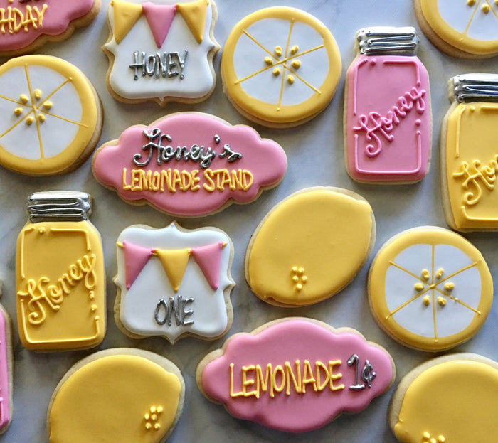 Lemonade Stand And Honey Mason Jars Birthday Party Sugar Cookies TheIcedSugarCookie.com Not Betty Cookies