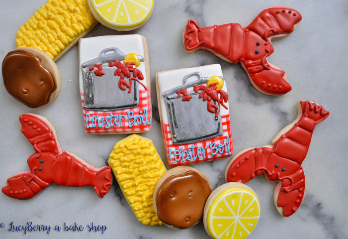 Lobster Boil Iced Sugar Cookies by LucyBerry A Bake Shop featured on TheIcedSugarCookie.com #cookies #sugarcookies #decoratedcookies #lobstercookies