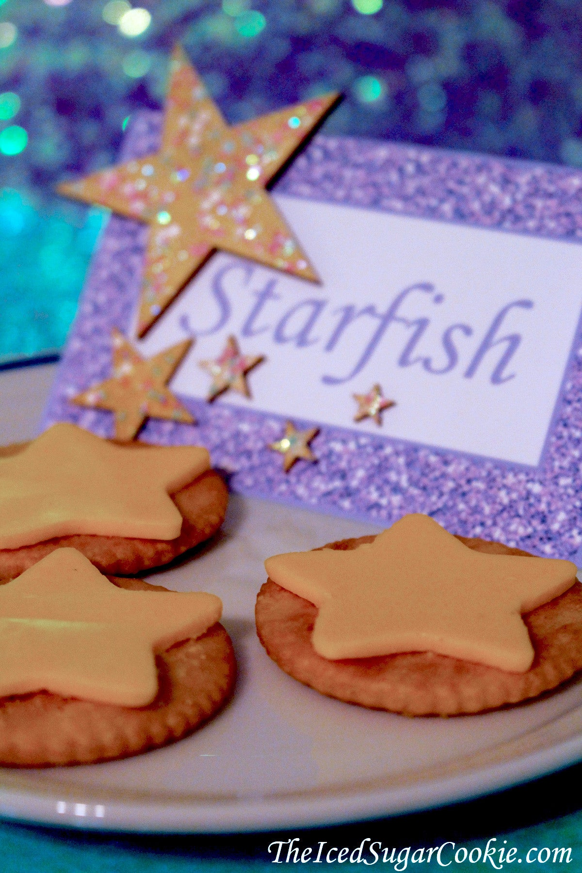 Mermaid Starfish Food Label Tent Cards With Wooden Stars With Glitter-Mermaid Birthday Party DIY Idea Crafts Under The Sea Starfish Food Label Tent Cards TheIcedSugarCookie.com