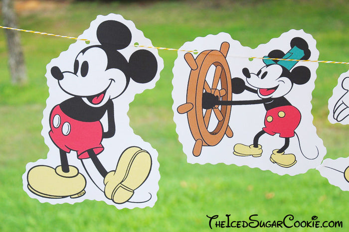 Steamboat Willie Mickey Mouse- Classic Mickey Mouse Birthday Party DIY Banner Ideas