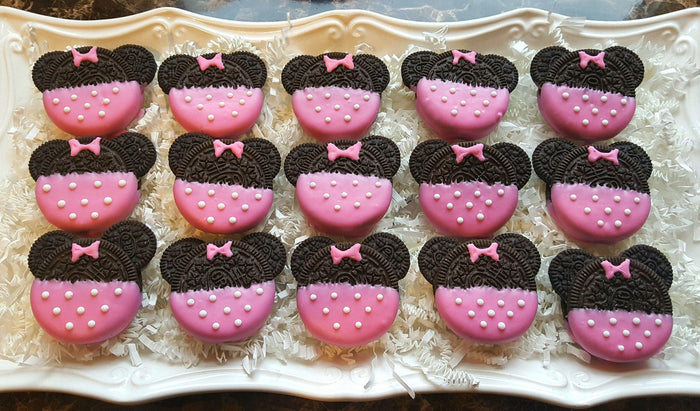 Pink Minnie Mouse Birthday Party Oreo Cookies