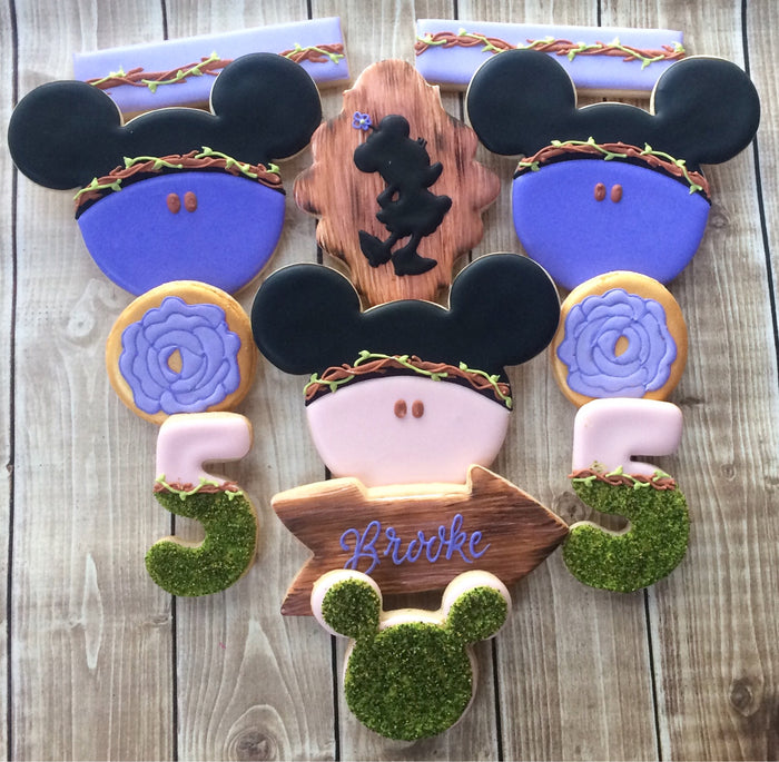 Minnie Mouse Boho Chic Woodland Birthday Party Iced Sugar Cookies by Flourish Cookies featured on TheIcedSugarCookie.com #cookies #sugarcookies #minniemouse #minniemousecookies #woodlandcookies #woodlandparty #minniemouseparty #bohochicparty