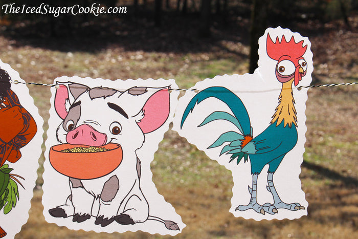 Moana Birthday Party Flag Hanging Banner DIY Idea-Maui, Hei Hei Rooster, Pua Pig