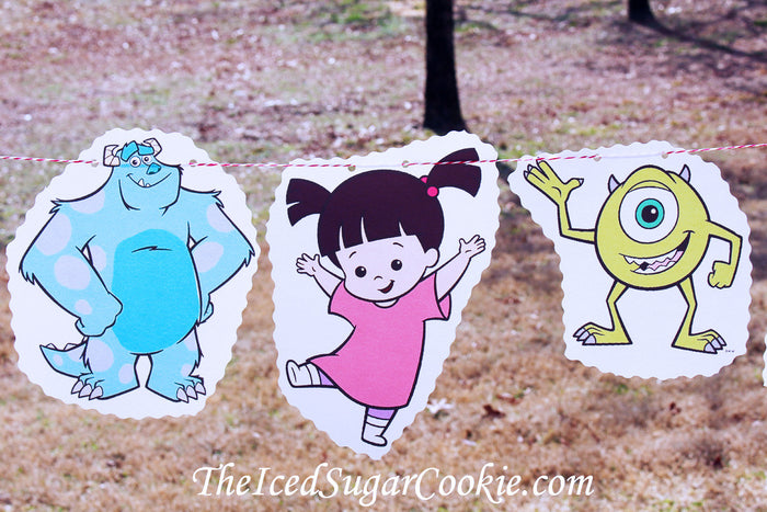 Monsters Inc Birthday Party Banner Garland DIY Idea Flag Bunting TheIcedSugarCookie.com Mike James Boo Randall