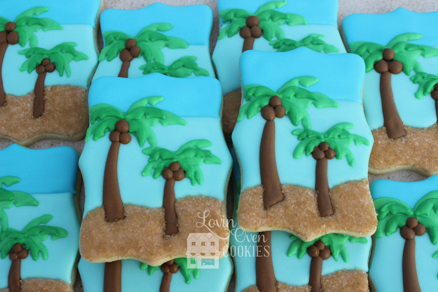 Palm Tree Beach Scene Sugar Cookies TheIcedSugarCookie.com Lovin Oven Cookies