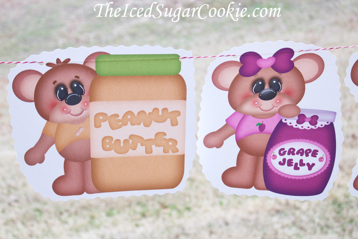 Teddy Bear Picnic Peanut Butter And Jelly Sandwich Birthday Party Banner Flag Bunting Garland-www.TheIcedSugarCookie.com