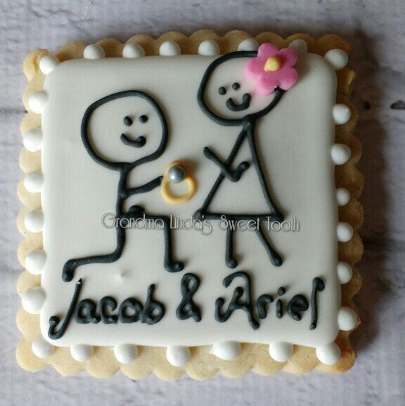 Personalized Engagement Stick Figure Sugar Cookies-Wedding Shower Cookies TheIcedSugarCookie.com Grandma Linda's Sweet Tooth GL Sweet Tooth