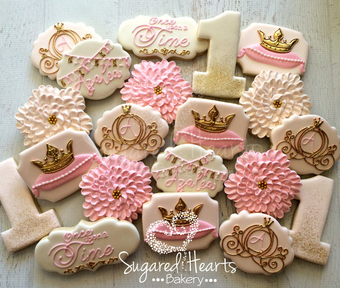 Princess Pink And Gold Glitter Birthday Party Sugar Cookies TheIcedSugarCookie.com Sugared Hearts Bakery