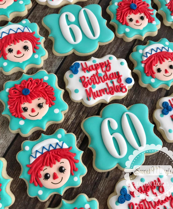 Raggedy Ann and Andy 60th Birthday Party Iced Sugar Cookies