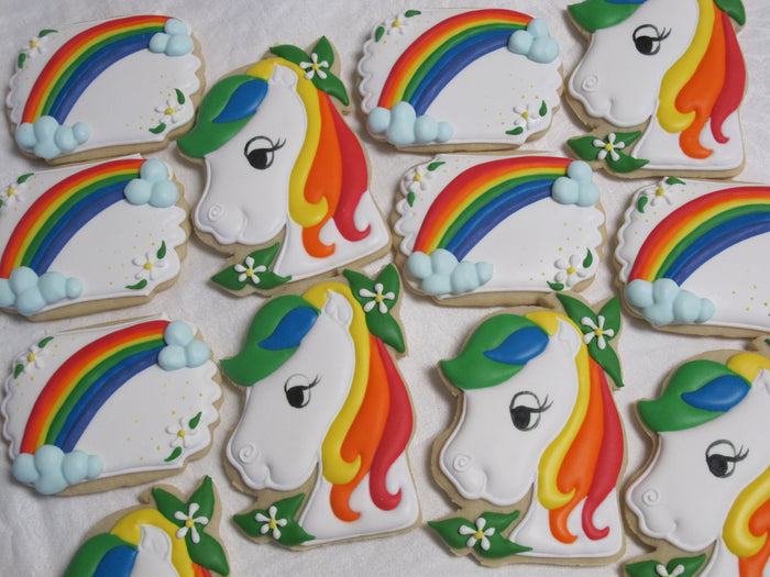 Royal Pony Birthday Party Cookies. TheIcedSugarCookie.com Marta Ingros Horse Sugar Cookies With Rainbow Hair