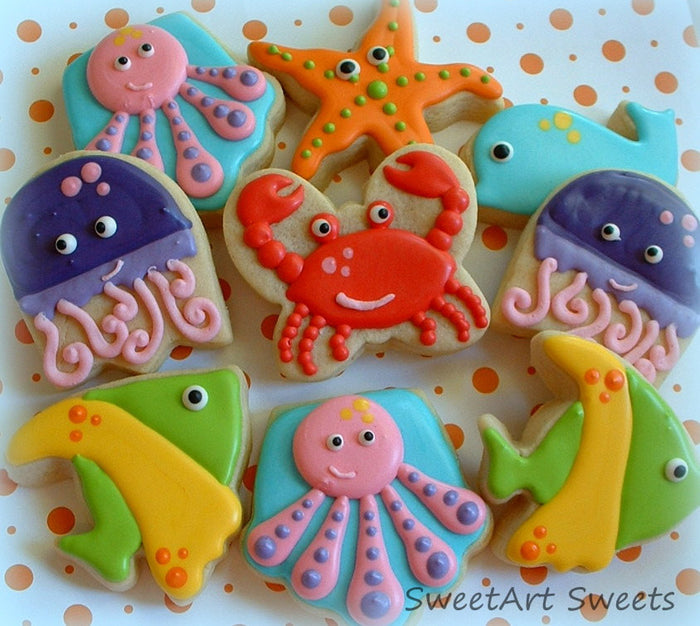 Sea-Life Animals Ocean Nautical Themed Birthday Party Sugar Cookies TheIcedSugarCookie.com SweetArt Sweets