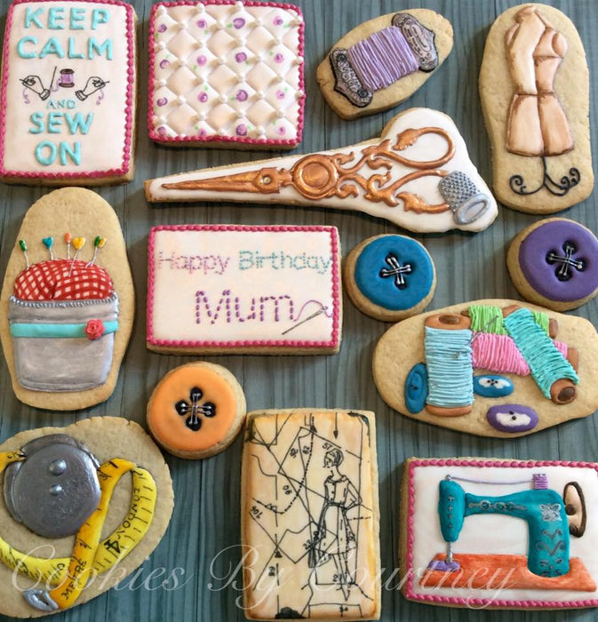 "Sewing Sugar Cookies ""Keep Calm And Sew On"" TheIcedSugarCookie.com Cookies By Courtney"